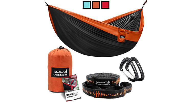 Momo Outdoors Double Portable Hammock With Adjustable Tree Straps & Aluminum Carabiners